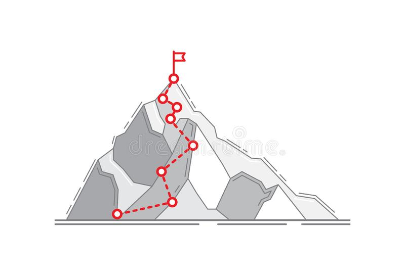 Mountain climbing route to peak business journey path in progress to success. Mountain climbing route to peak. Business journey path in progress way to success stock illustration