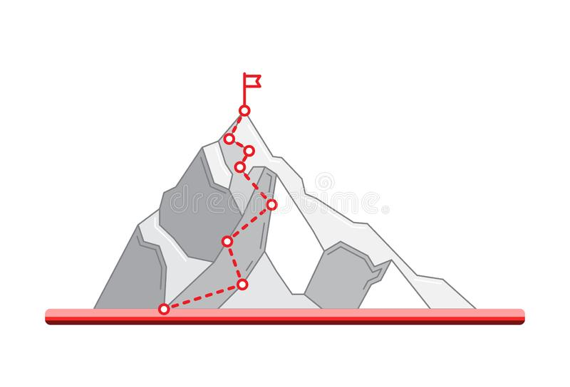 Mountain climbing route to peak. Business journey path in progress to success. Mountain climbing route towards to peak. Achieving the goal in training, phased royalty free illustration
