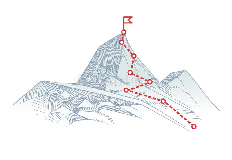 Mountain climbing route to peak. Business journey path in progress to success vector concept. Mountain peak, climbing route to top rock illustration vector illustration
