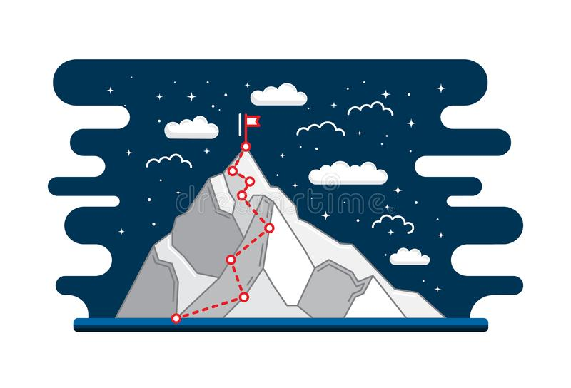 Mountain climbing route to peak business journey path in progress to success. Mountain climbing route to peak. Business journey path in progress way to success royalty free illustration