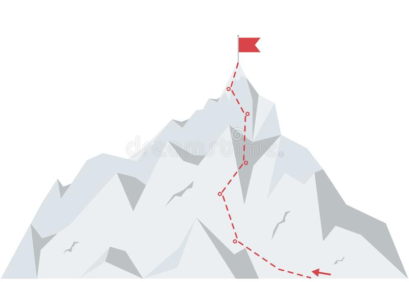 Mountain climbing route to peak. Business journey path to success. Vector illustration in flat style. Mountain climbing route to peak. Business journey path to royalty free illustration