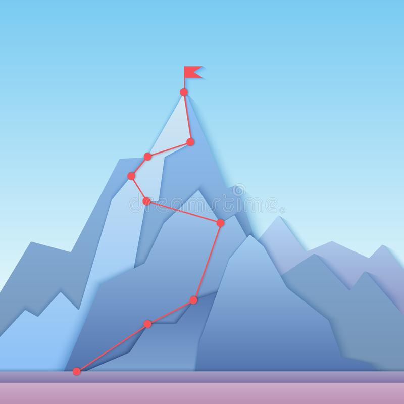 Mountain climbing route to peak. Business progress motivation, discipline and goal achieving concept vector illustration. Paper cuted mountain peak, climbing vector illustration
