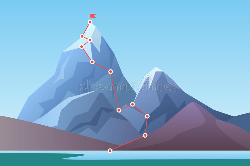 Mountain climbing route to peak. Business progress motivation, discipline and success target concept vector illustration stock illustration