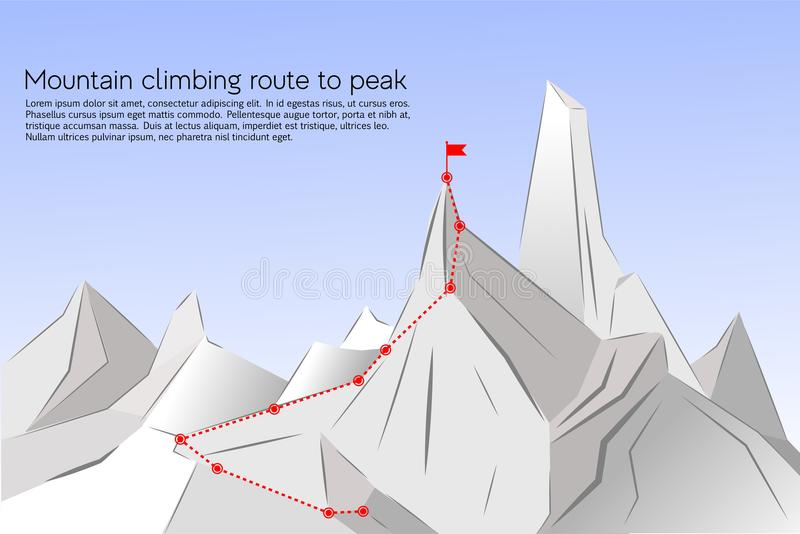 Mountain climbing route to peak. Concept Business Success. Vector illustration Route to the top of mountain Success, path, route, achievement of goals, career royalty free illustration
