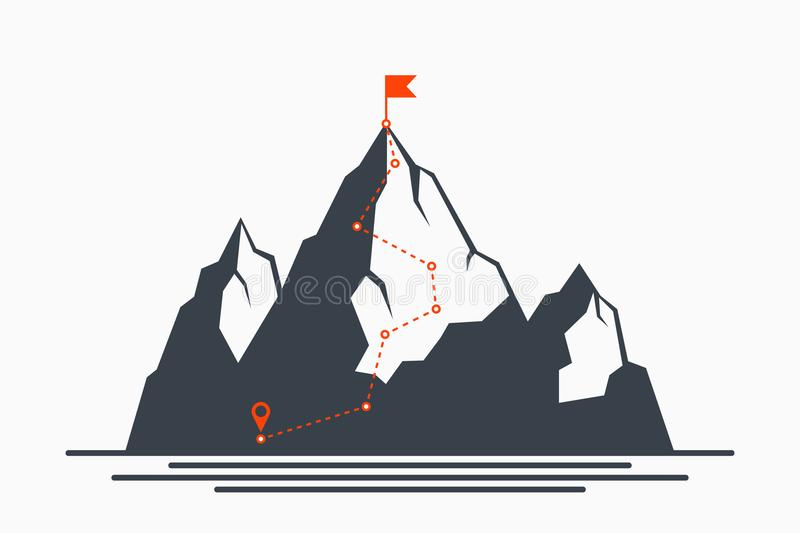 Mountain climbing route to peak. Concept of path to success and goal, way of progress. Plan for climbing to top of mountain. vector illustration
