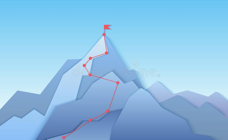 Mountain climbing route to peak landscape. Climbing pointed road to layered paper style mountain top. Business progress. Path to peak of success concept vector royalty free illustration
