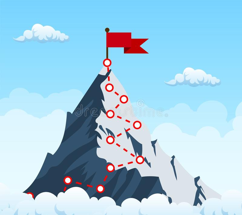 Mountain climbing route to peak. Top of the mountain with red flag. Business success concept. Vector illustration in flat style royalty free illustration