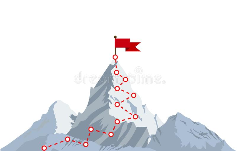 Mountain climbing route to peak. Top of the mountain with red flag. Business success concept. Vector illustration in flat style stock illustration