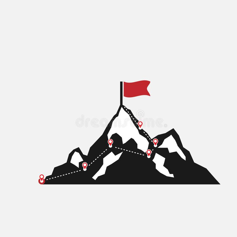 Mountain climbing route to peak. Route to the top of mountain. isolated on white background. Vector illustration. Eps 10 stock illustration