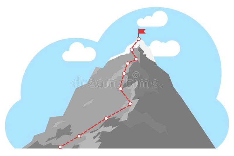 Mountain climbing route to peak. Top of the mountain with red flag. Business success concept. Business journey path in progress to success concept royalty free illustration