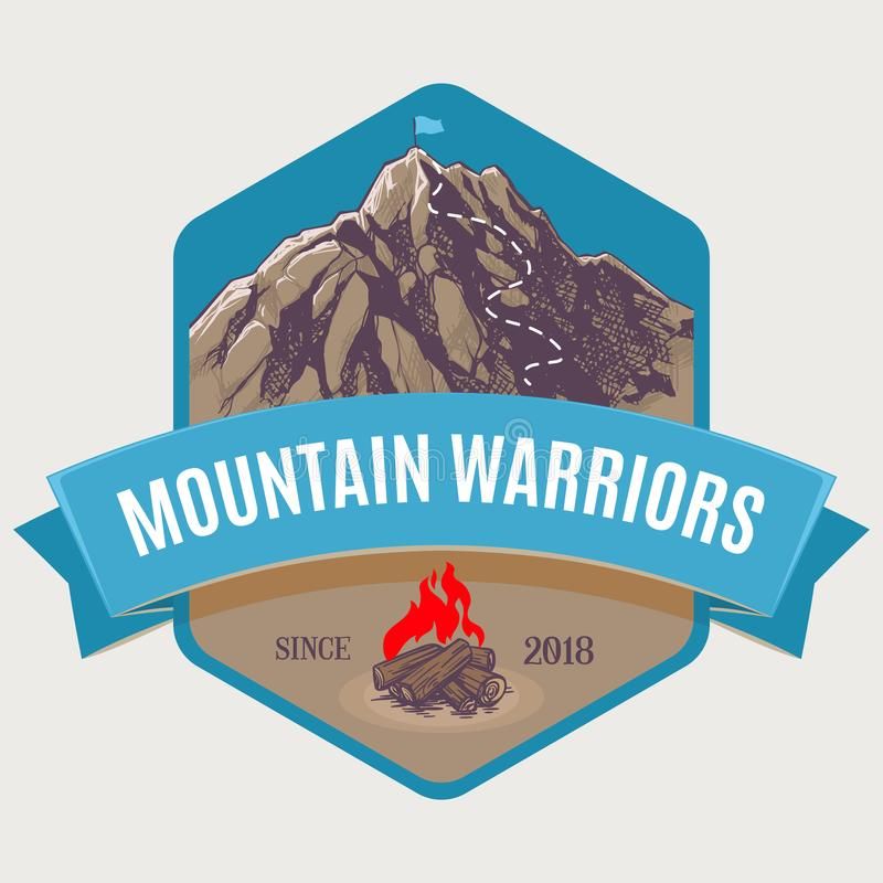 Mountain climbing to peak royalty free illustration