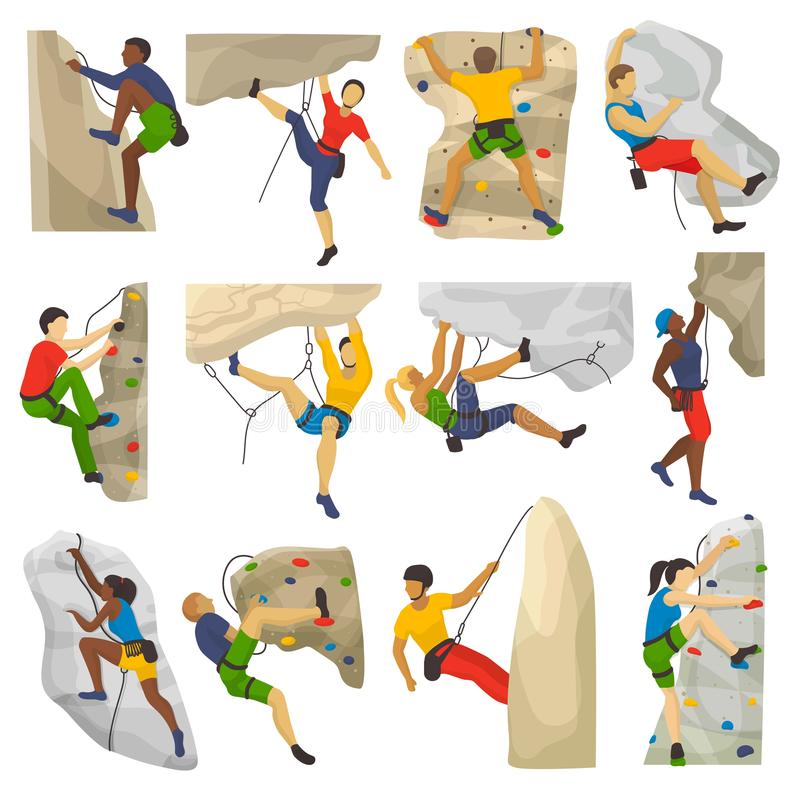 Mountain climbing vector climber climbs rock wall or mountainous cliff and people in extreme sport mountaineer character stock illustration
