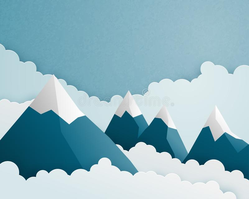 Mountain and cloud scene in paper cut style. Nature landscape clouds and sky background. Vector illustration for wallpaper, poster stock photos