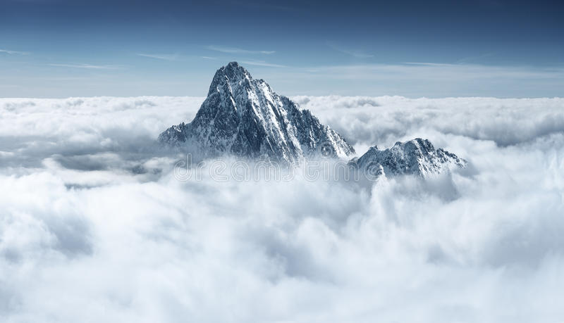Mountain in the clouds stock image