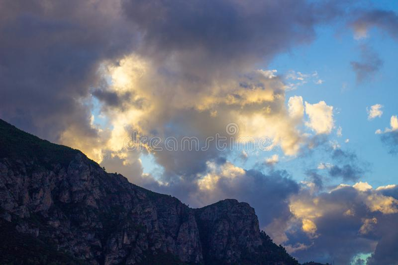 mountain clouds and sky stock image