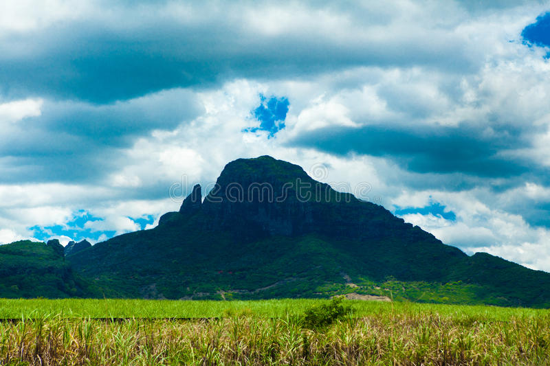 Mountain cloudy day. In mauritius island royalty free stock images