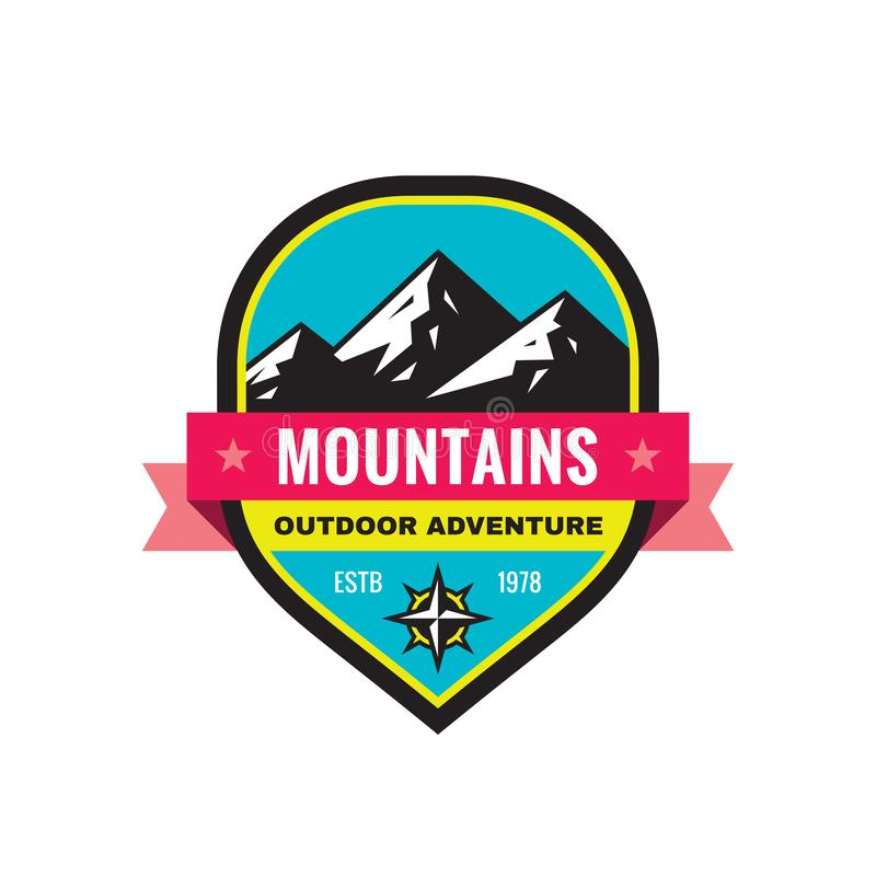 Mountain - concept badge vector illustration. Expedition explorer creative logo in flat style. Discovery outdoor adventure sign. stock illustration