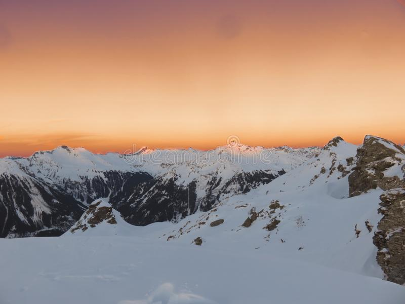 Mountain Covered With Snow during Sunset stock photos