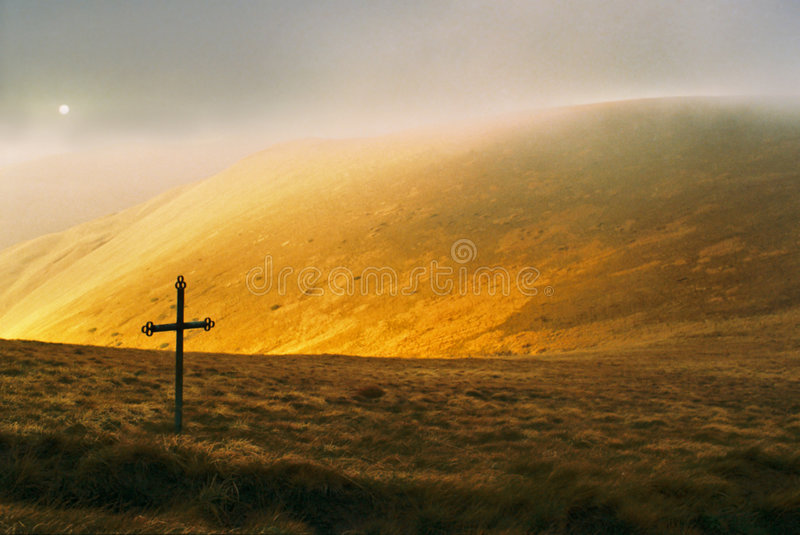Mountain and cross stock images