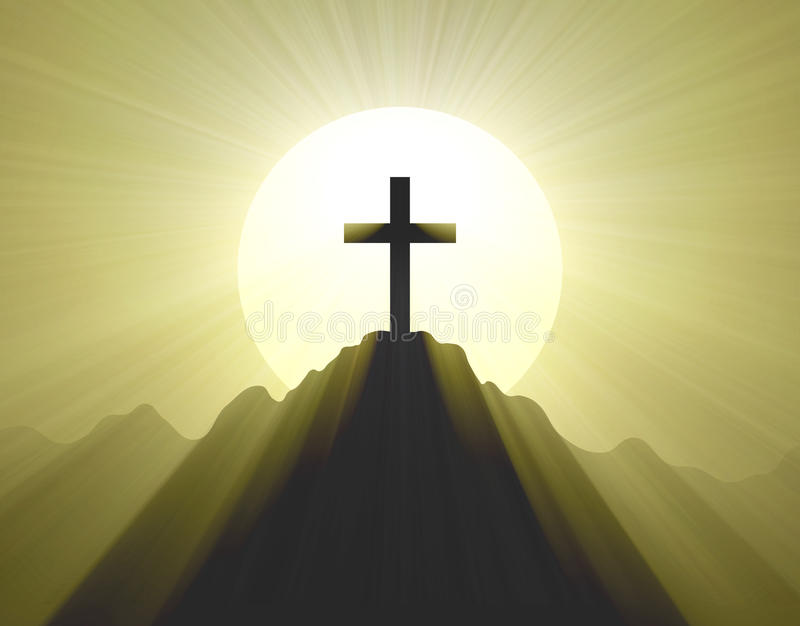 Download Mountain Top Cross Holy Light Halo Stock Illustration - Illustration of dark, crucifix: 42902655