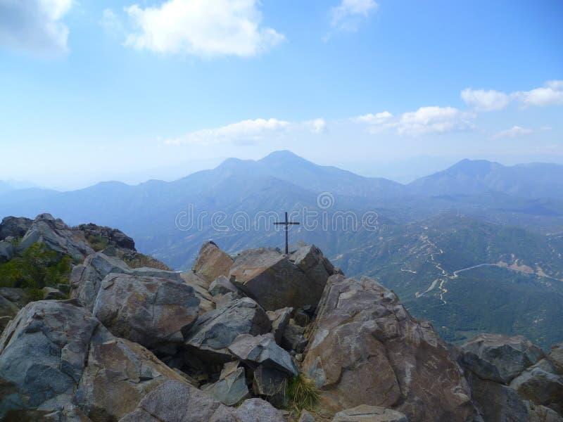 Mountain cross of Vizcachas mountain stock photography