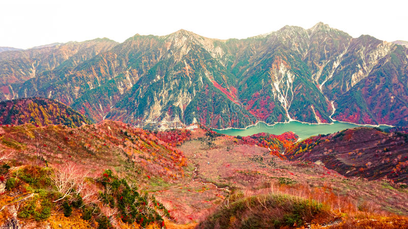 Mountain and daikanbo ropeway in Japan Alpine route. Toyama royalty free stock photo