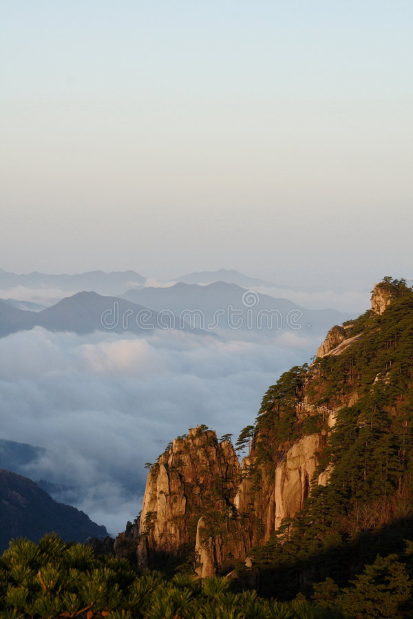 Mountain in dawn sunlight royalty free stock images