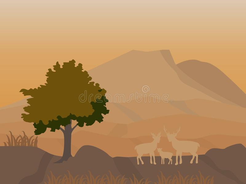 Mountain and deers family at night scene,vector image stock illustration