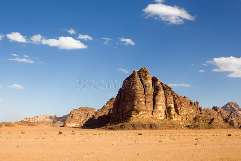 Mountain in the desert. Jordan, Wadi Rum royalty free stock photo