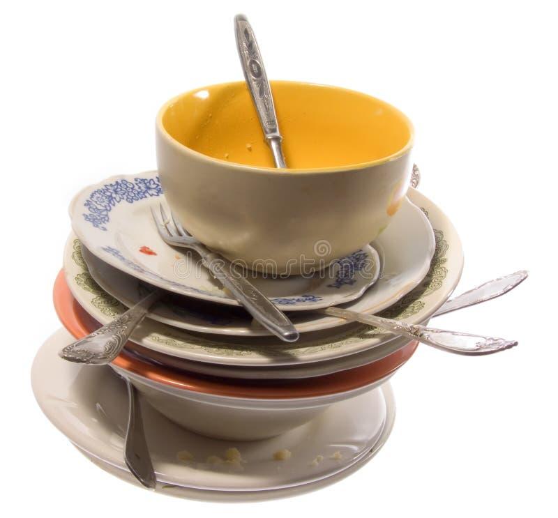 Mountain of dirty utensils royalty free stock photos