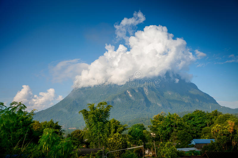 Mountain Doi Chiang Dao. Morning photo, one of the highest peaks of the Daen Lao Range on the Thai side of the border. Pha Daeng National Park, formerly known as royalty free stock photos