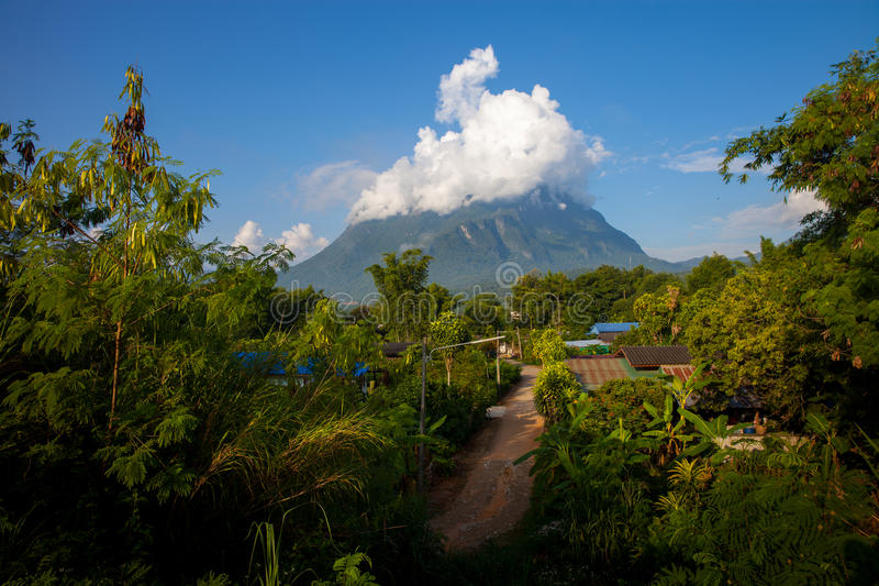 Mountain Doi Chiang Dao. Morning photo, one of the highest peaks of the Daen Lao Range on the Thai side of the border. Pha Daeng National Park, formerly known as stock photos