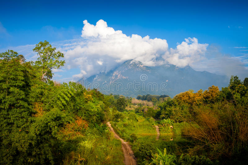 Mountain Doi Chiang Dao. Morning photo, one of the highest peaks of the Daen Lao Range on the Thai side of the border. Pha Daeng National Park, formerly known as stock image