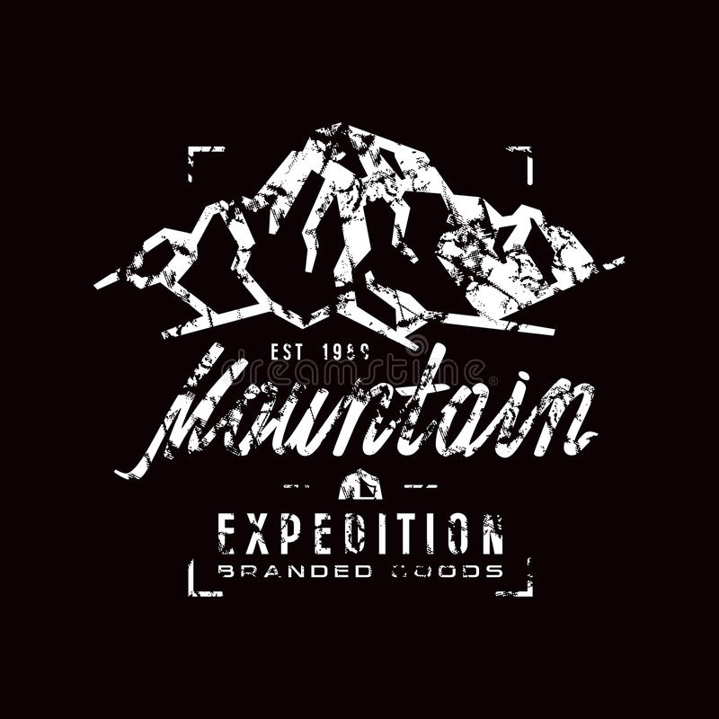 Mountain expedition label with shabby texture stock illustration