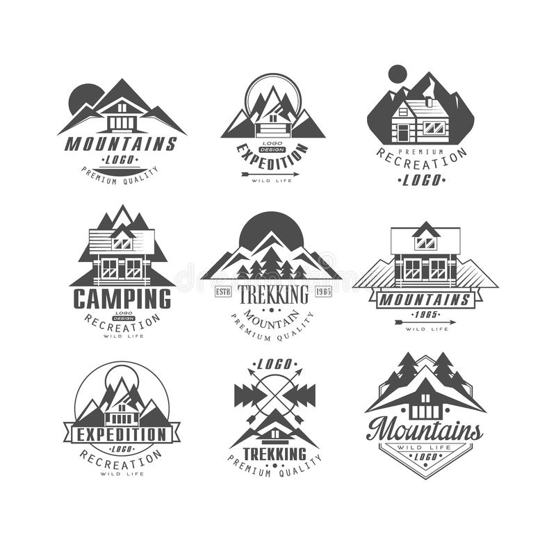 Mountain, expedition logo set, camping, trekking retro badges in monochrome style vector Illustrations on a white stock illustration
