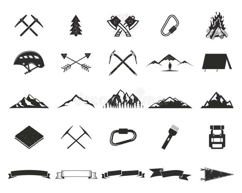 Mountain expedition silhouett icons set. Climb and camping shapes collection. Simple black pictograms. Use for creating royalty free illustration