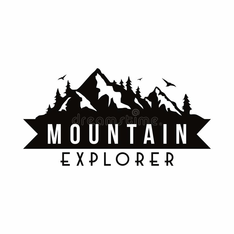 Mountain Explorer Adventure Black And White Badge Template Vector vector illustration