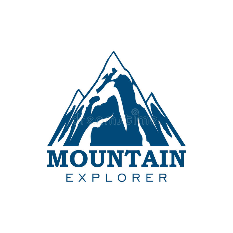 Mountain explorer expedition sport vector icon stock illustration