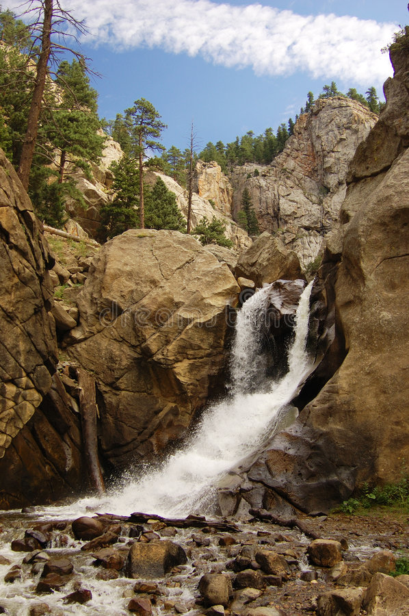 Mountain Falls. A waterfall in a rocky, mountainous locale royalty free stock photo