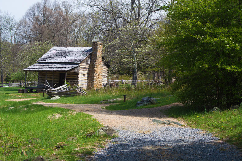 Mountain Farm House display on Blue Ridge Parkway. Augusta County - May 7th: Replicator of a Mountain Farm House One on display at the Humpback Rocks Farm Museum stock images