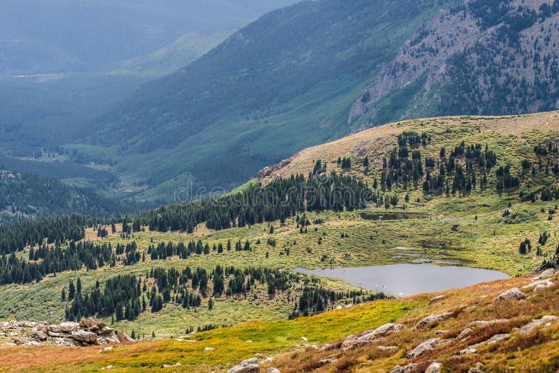 Mountain field and lake - mt evans colorado royalty free stock photos