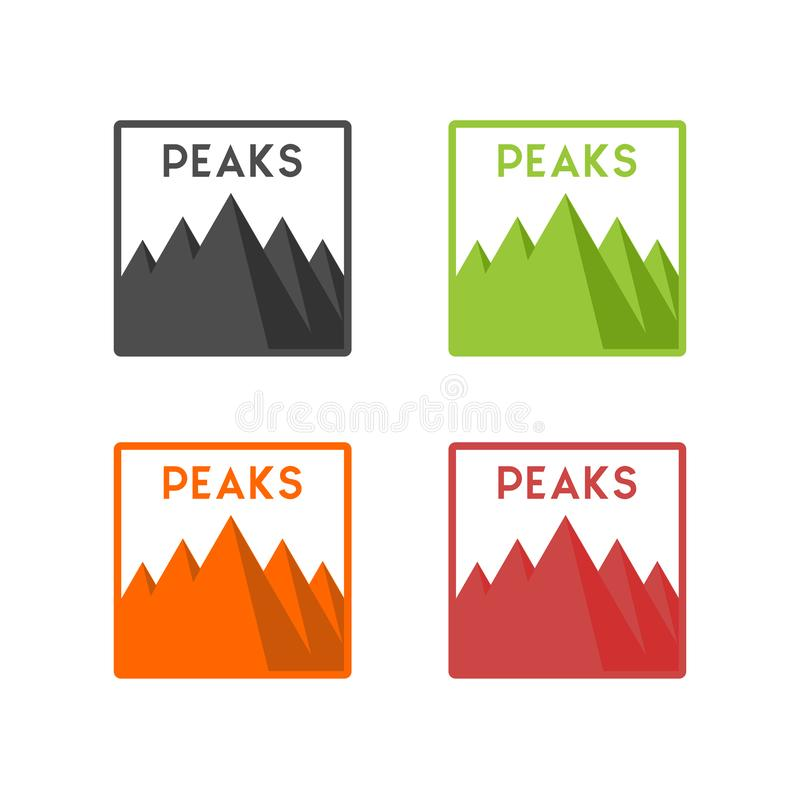 Mountain with five peaks. Five peaks mountain logo designs vector illustration