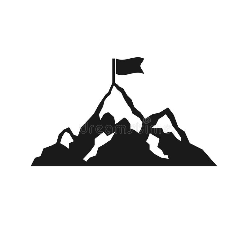Mountain with flag icon isolated on white background. Vector illustration. vector illustration