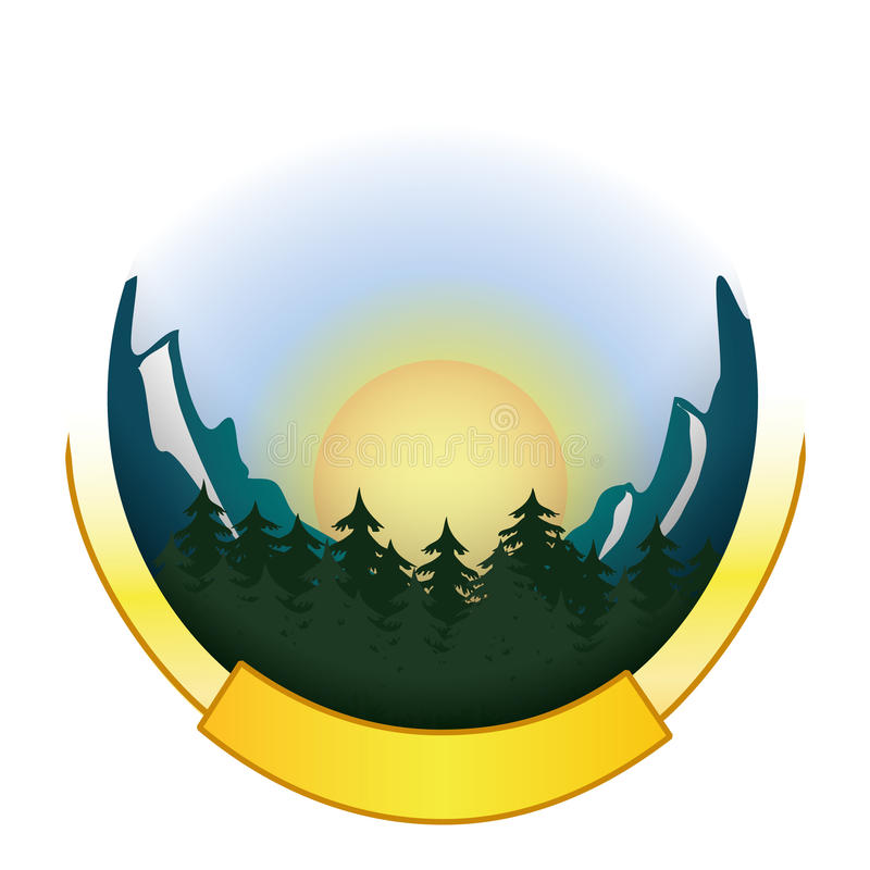 Download Mountain And Forest Badge Logo Stock Image - Image: 19729901