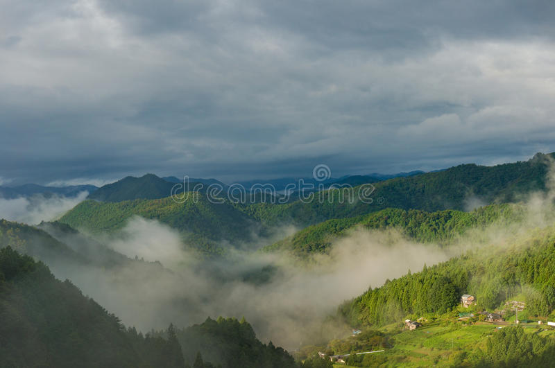 Mountain forest with fog against dramatic sky on the background royalty free stock photos