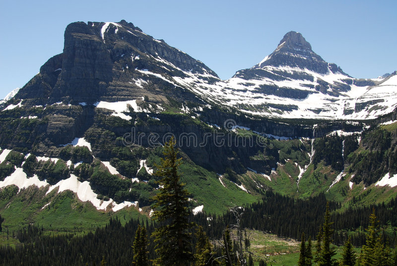 Mountain, forest and glacier stock photography