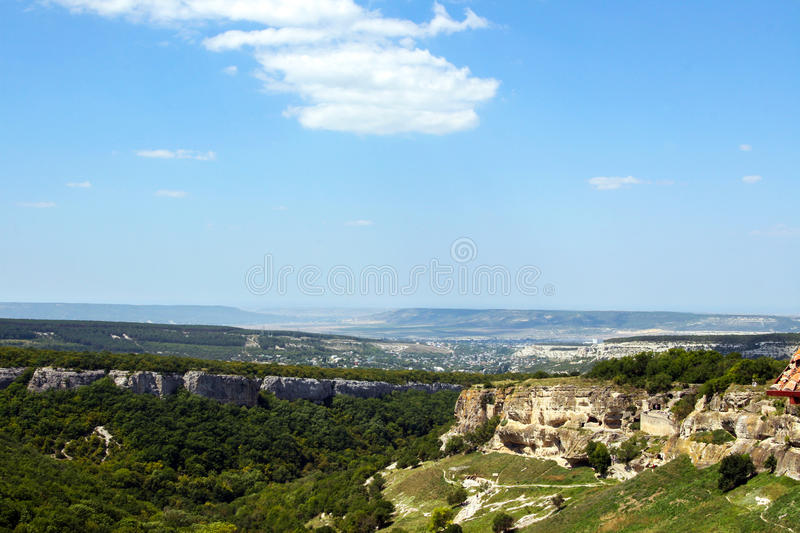 Mountain forest landscape in the Crimea stock image