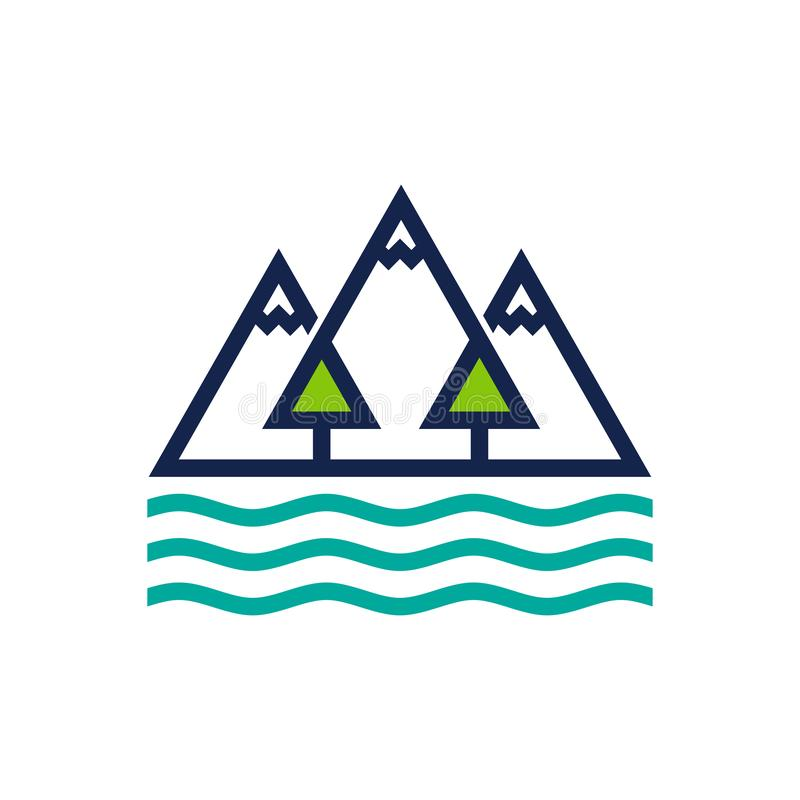 Mountain, Forest and Ocean Logo Design Template stock illustration