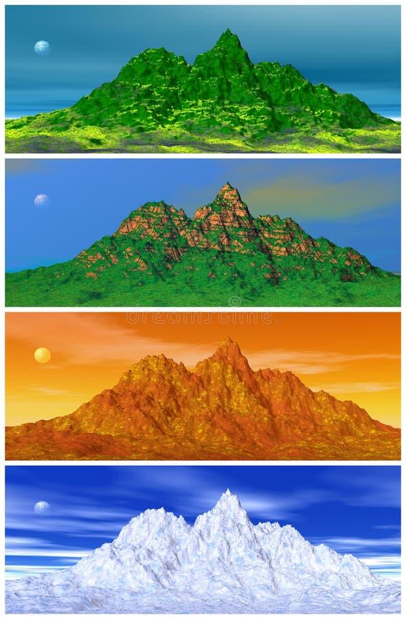 Download Mountain and four seasons stock illustration. Image of seasoning - 18173159