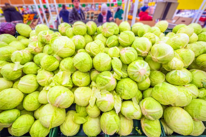 A mountain of fresh cabbage lying in a  shopping center. A mountain of fresh cabbage lying in a large shopping center royalty free stock photography